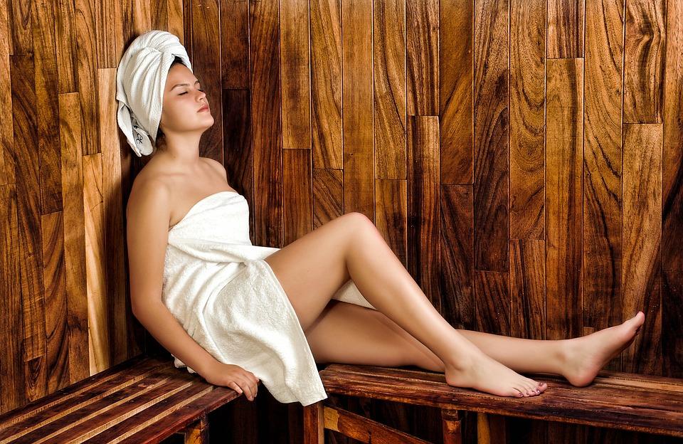 sauna met warm weer